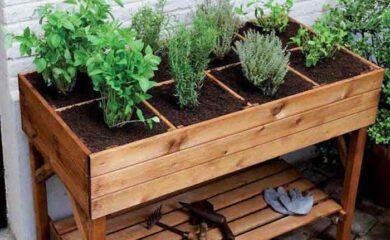 mesa huerto urbano madera