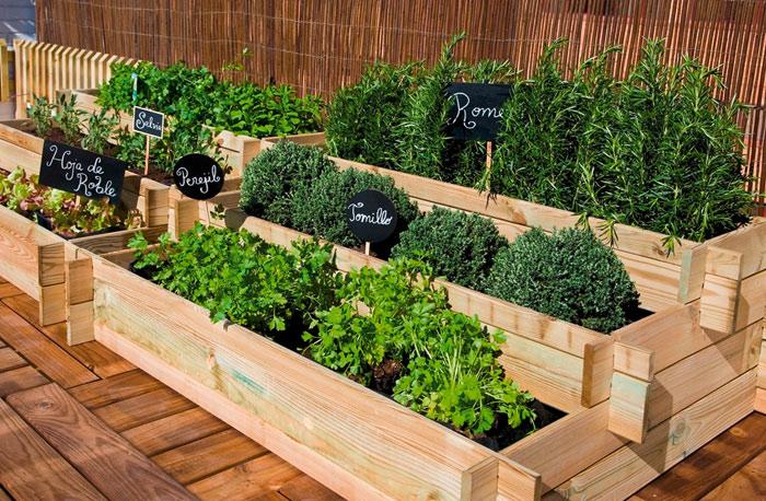 Mesa plantacion en escalera para huerto urbano
